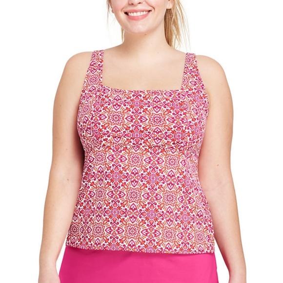 91ef0c76ab Women s Plus Size Underwire Squareneck Tankini Top